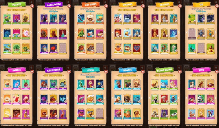 Collect all the different Cards and keep in the Chests