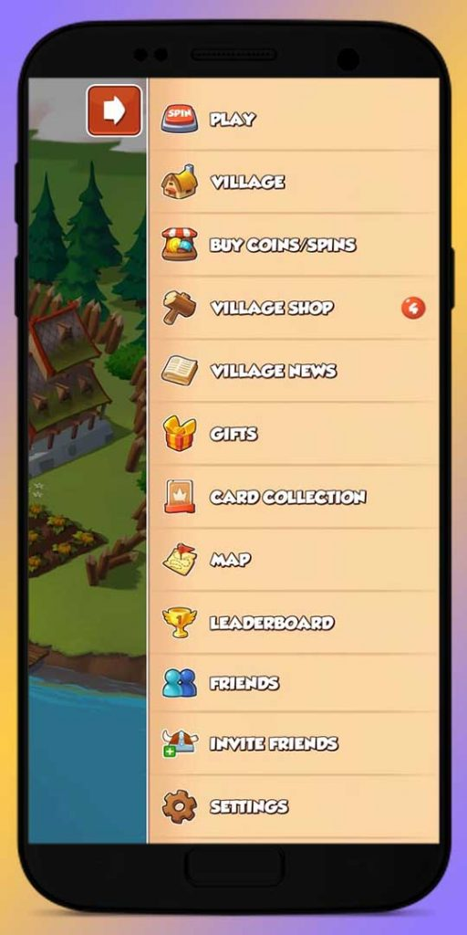 access the menu in coin master game and invite your friends