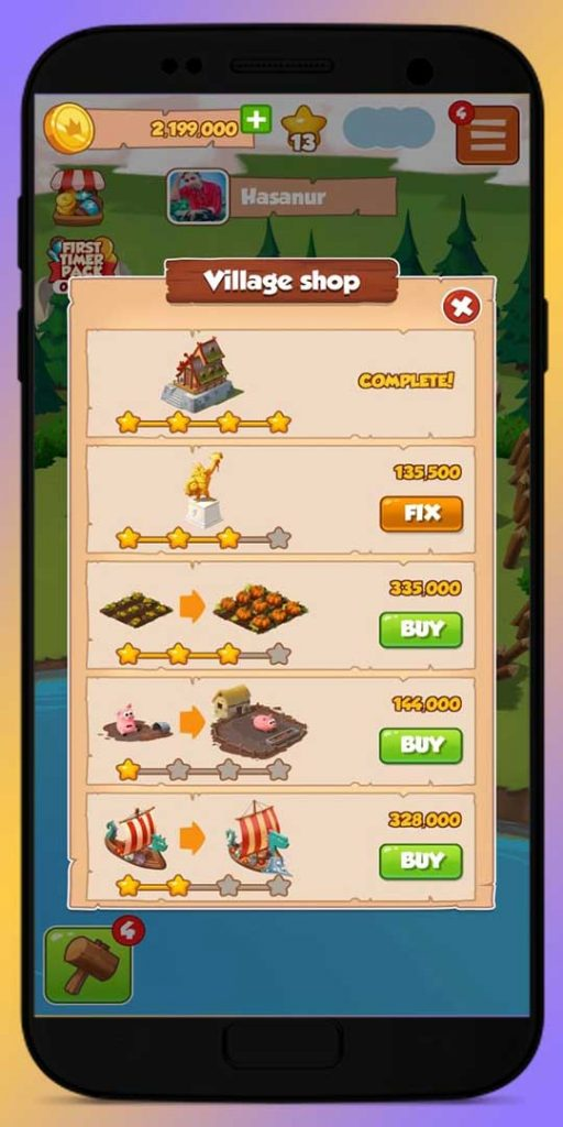 shop your village and upgrade them