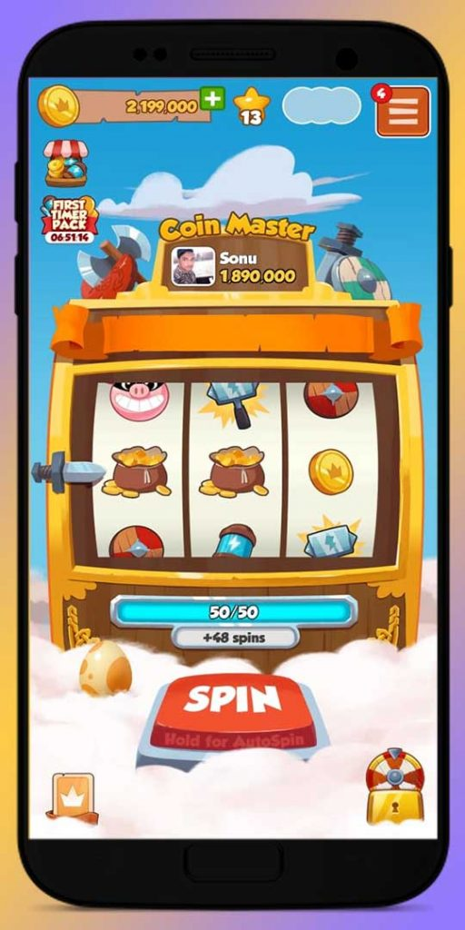 Spin Slot Machine and get free spin, coins, hammer, shield, pig robber